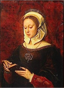 Ambrosius Benson, young woman reading a book of hours