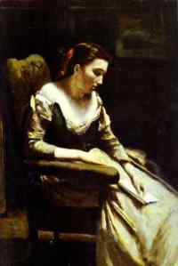 Camille Corot [Jean Baptiste], woman reading 03