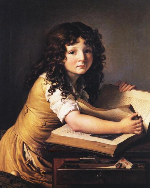 133 Un jeune enfant regardant des figures dans un livre (1798). Anne-Louis Girodet de Roussy-Trioson