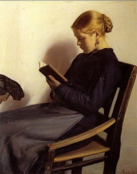 146 A young girl reading_Michael Peter Ancher