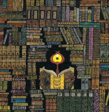 165 An alien in the library  Un alienígena en la biblioteca (ilustración de Lu Heaven)