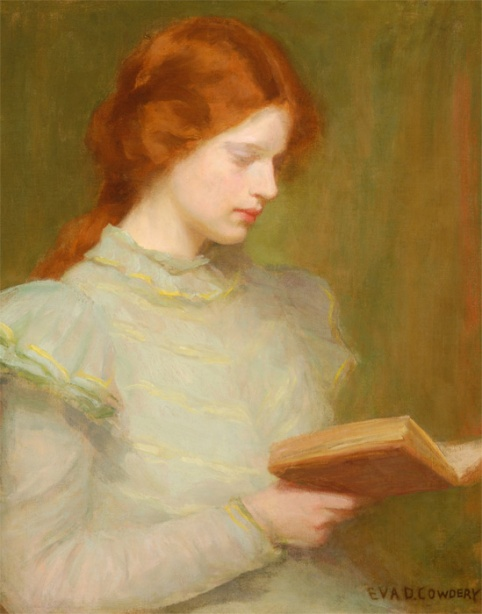 200 Young Girl Reading a Book. Eva D. Cowdery