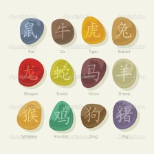 Colorful stones set with Chinese zodiac signs and pictogram