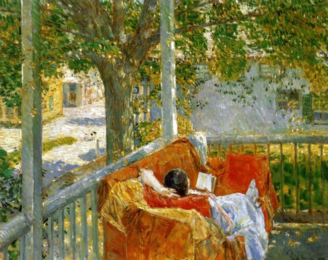 213 Couch on the Porch, Cos Cob, Frederick Childe Hassam.
