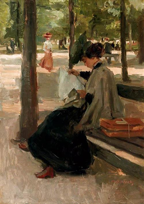 226 Reading in the Bois de Boulogne, Paris, Isaac Israels