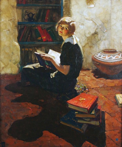 229 Portrait of a Young Woman Reading, Dean Cornwell