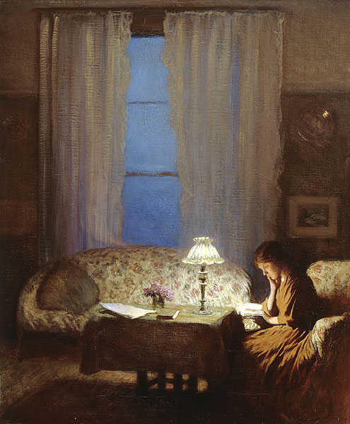 238 Twilight Interior, Reading by lamplight 1909, Sir George Clausen