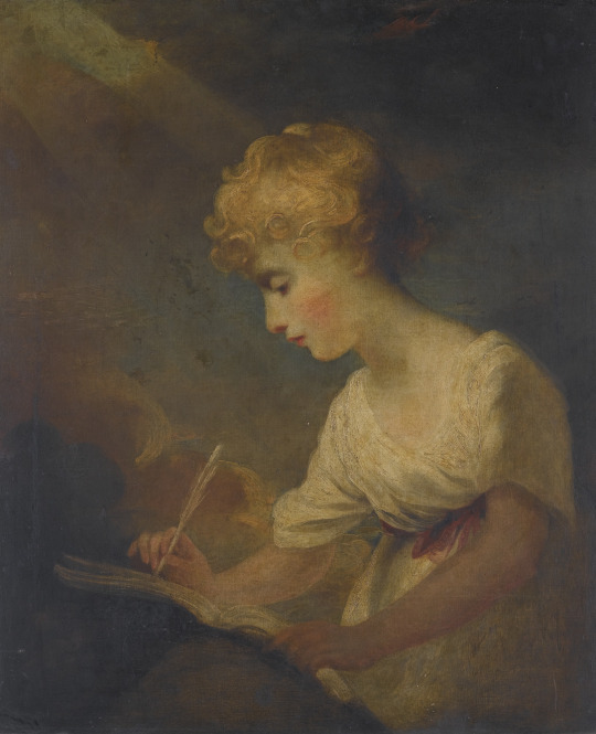 Study of a Girl Writing. Reverend Matthew William Peters, R.A. (English, 1742-1814).
