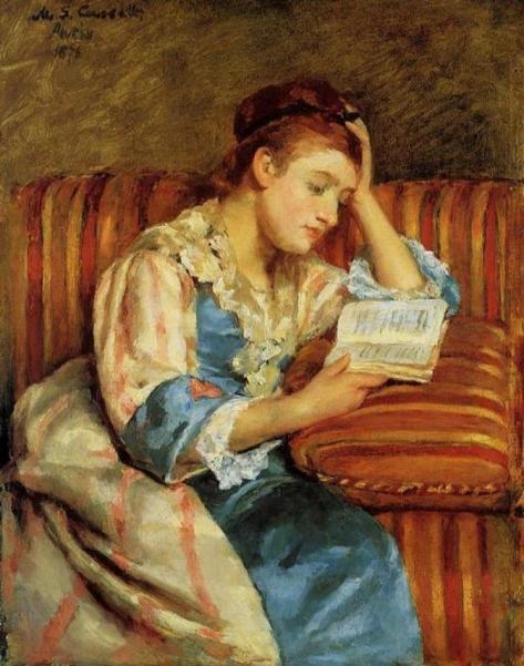 050643_Cassatt_Mrs. Duffee Seated on a Striped Sofa Reading