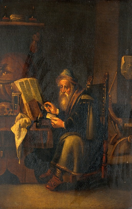 V0017298 A philosopher reading. Oil painting by a follower of David T Credit: Wellcome Library, London. Wellcome Images images@wellcome.ac.uk http://wellcomeimages.org A philosopher reading. Oil painting by a follower of David Teniers the younger. By: David TeniersPublished:  -  Copyrighted work available under Creative Commons Attribution only licence CC BY 4.0 http://creativecommons.org/licenses/by/4.0/