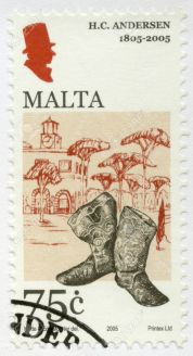 21901199-MALTA-CIRCA-2005-A-stamp-printed-in-Malta-shows-Hans-Christian-Andersen-1805-1875-a-writer-circa-200-Stock-Photo