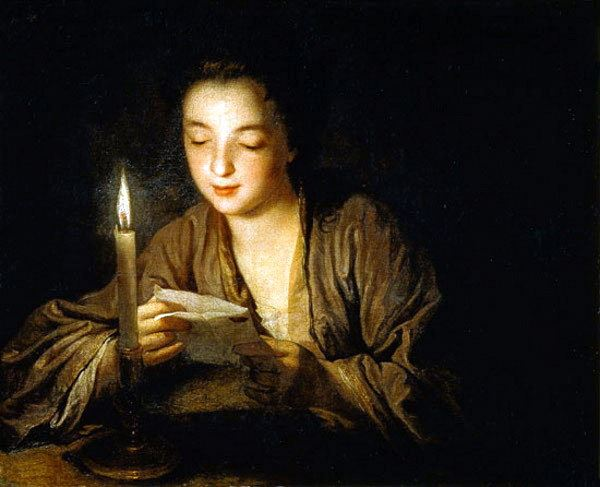 266 Girl reading a letter by the light of a candle_Jean Baptista Santarra.jpg
