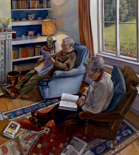 reading-after-lunch  oil portrait painting by Sarah Bryan
