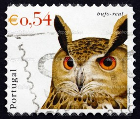 PORTUGAL - CIRCA 2002: a stamp printed in the Portugal shows Eurasian Eagle Owl, Bubo Bubo, Bird, circa 2002