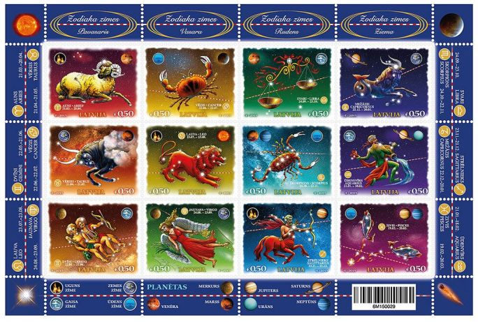Latvian-stamps-featuring-Zodiacs-Constellations