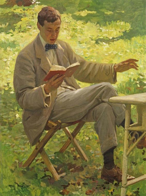 Harold Knight portrait of Alfred Munnings reading