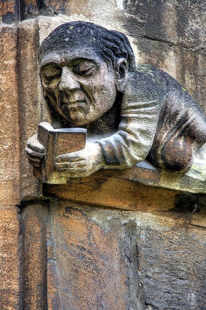 Reading Gargoyle in Balliols Front Quad-Oxford
