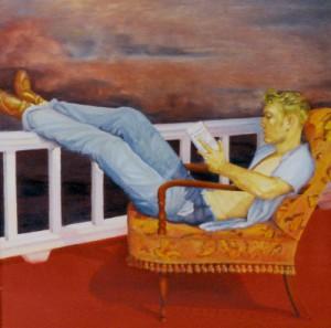 reading-oil-painting by Frantiska Palecek