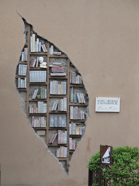 sculpture on the outside walls of the Community Library in Monzuno_Italy