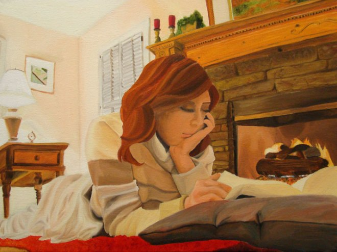 jamie-miller-illustration-painting-red-headed-girl-reading-book-fireplace